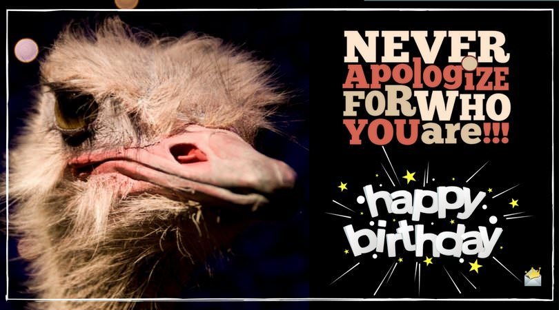 Never apologize for who you are!!! Happy Birthday.