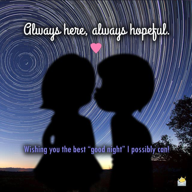 Good night love quote on image of couple of kids kissing with a swirling starry sky at the background.