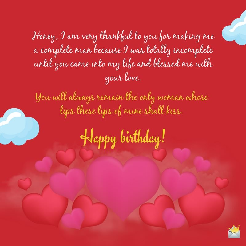 Romantic birthday wishes for your wife happy bday love honey i am very thankful to you for making me a complete man happy birthday bookmarktalkfo Image collections