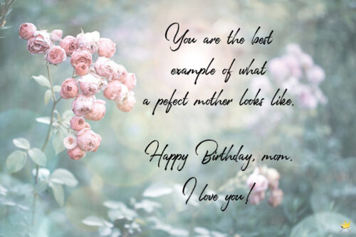 Birthday quote for mother on image with flowers that you can share with her.