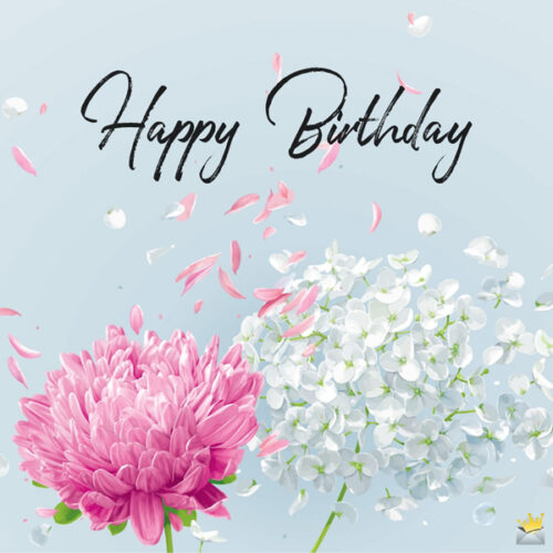 A happy birthday image with vintage flowers you can use to wish your mom on her special day.