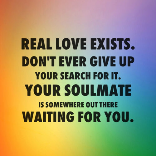 Finding love quote on image with abstract background.