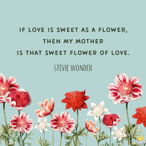If love is sweet as a flower, then my mother is that sweet flower of love. Stevie Wonder