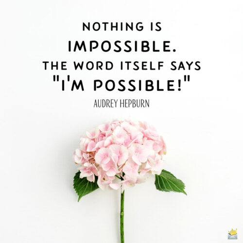 Inspirational good morning quote you can share on image with flower.