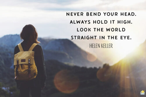 Good morning quote by Helen Keller for inspiration.