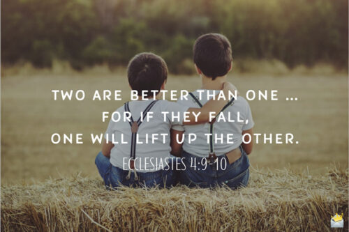 Bible verse on image with two children. Food for thought.