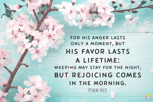 Bible verse on image with flowers for easy sharing.