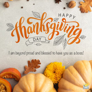 Happy Thanksgiving image with message for boss.