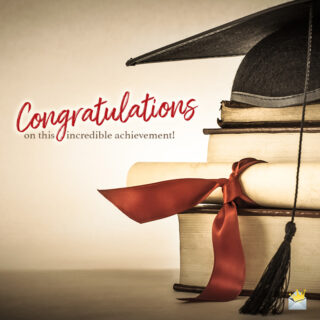 Graduation wish on image for easy sharing on chats, messages, emails and social media in general.