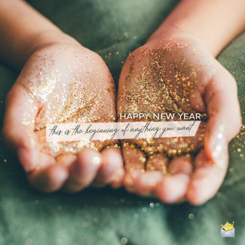 Happy New Year wish on image for social media.