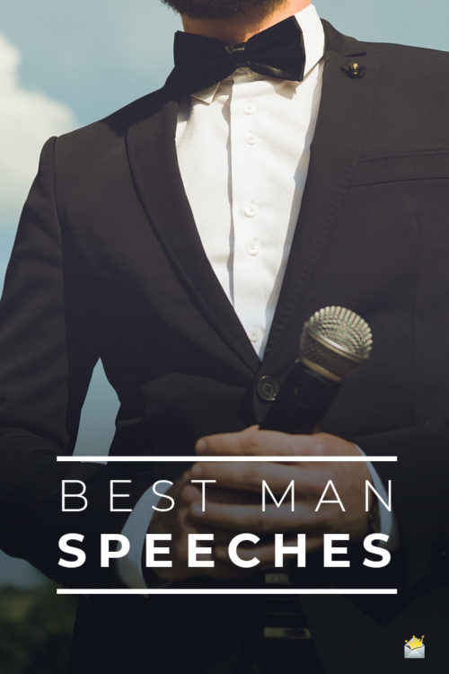 Best man speeches on image of man holding a microphone.
