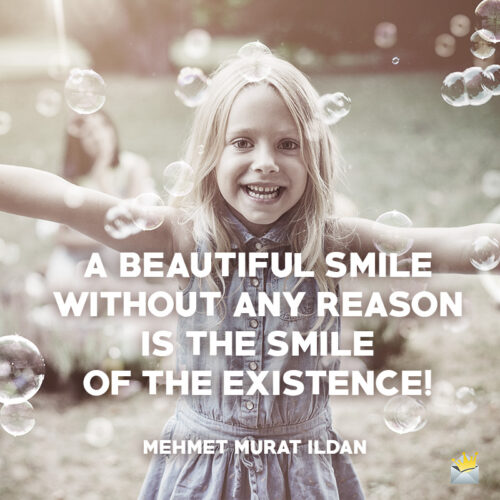 Smile quote on image to use on messages or social media.