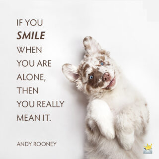 Smile quote on image with cute dog smiling.
