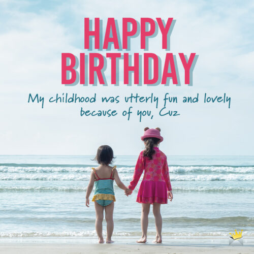Happy Birthday for a cousin on images of kids holding hands.