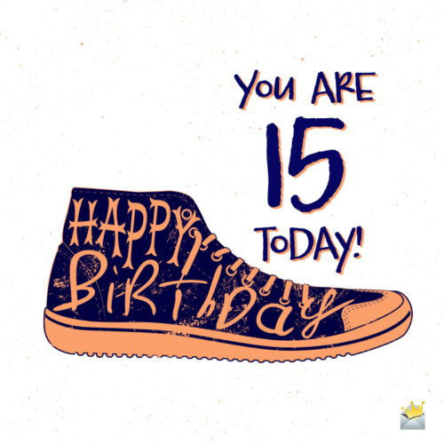 Happy 15th birthday image with a sneaker.