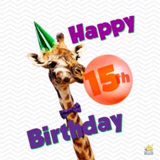 Happy 15th birthday image on funny image of a giraffe.