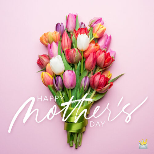 Happy mother's day message on image with flowers.