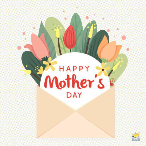 Cute illustration with flowers in an envelope on image for mother's day.
