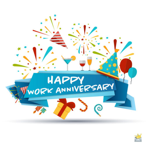 Happy Work Anniversary image to help you wish to a colleague.