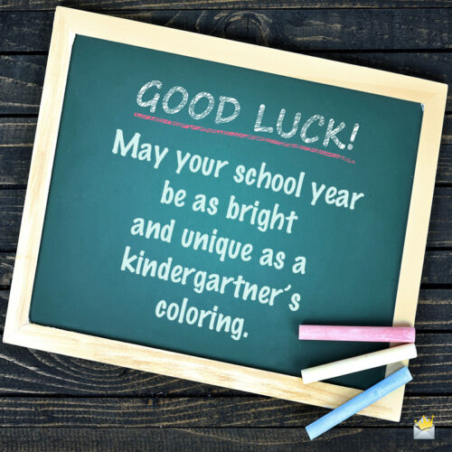 Good luck image with a wish for school.