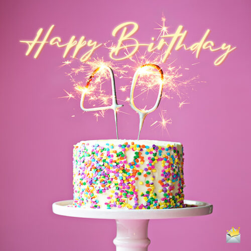 Happy 40th birthday wish on image of birthday cake with sparkling candles.