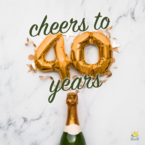 Festive 40th birthday wish on image of champagne bottle.