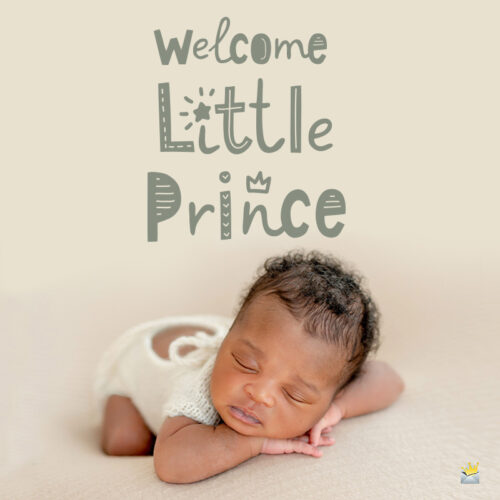 Congratulations on the birth of a new baby on photo of baby boy.