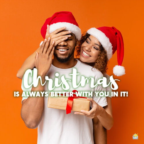 Christmas caption for couples in love.