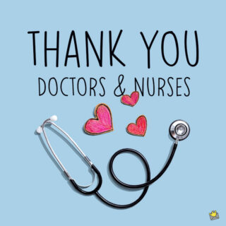 Thank you image for doctors and nurses.