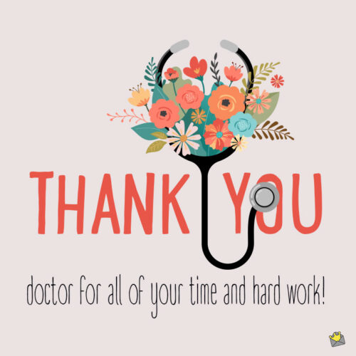 Thank you note for doctor.