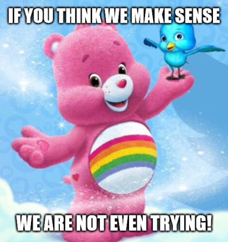 Cheer Up Meme with cute pink bear and blue bird.